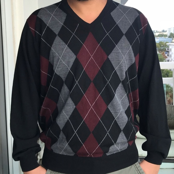326e2ea4fb24 Jos. A. Bank Sweaters   Mens Argyle V Neck Pullover Wool Sweater ...